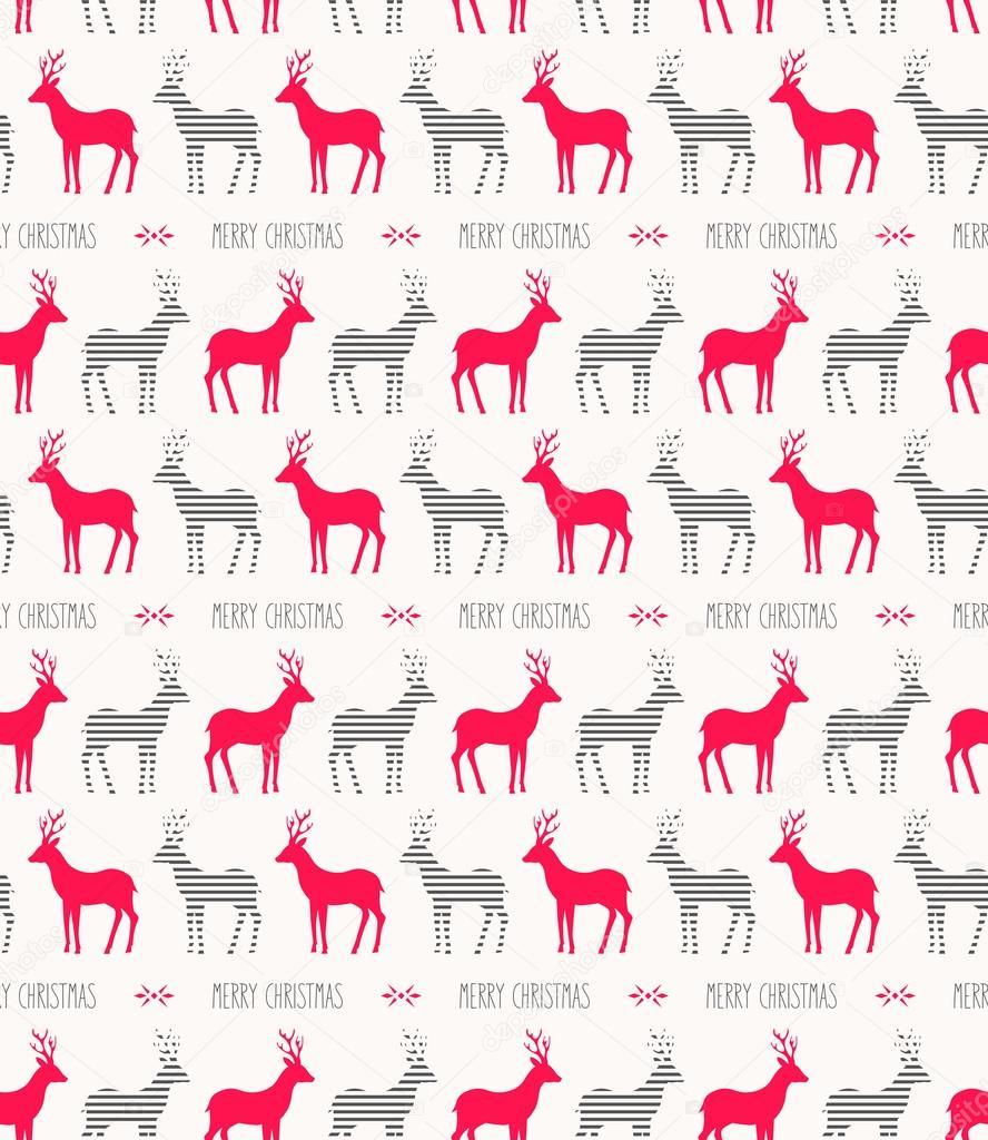 sin fisuras patrón de Navidad con renos — Vector de stock ...