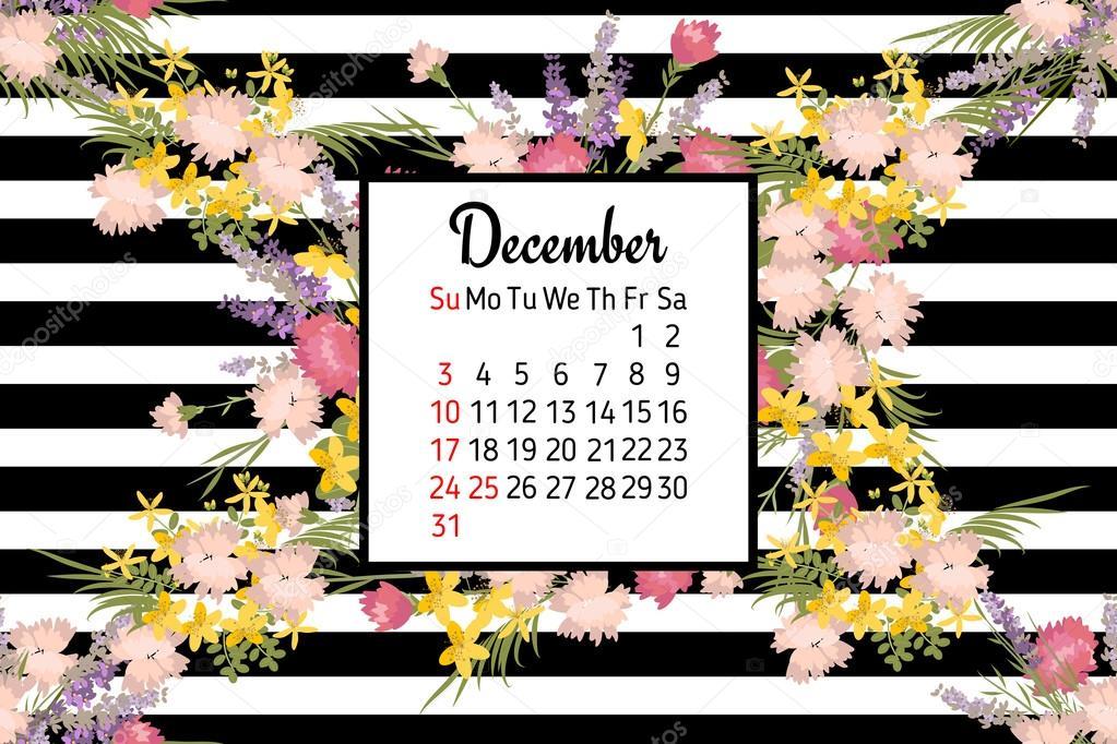 Květinový kalendář prosinec 2017 — Stock Vektor © RaSveta ...