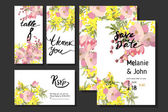 Photo cards with Mimosa flowers and leaves