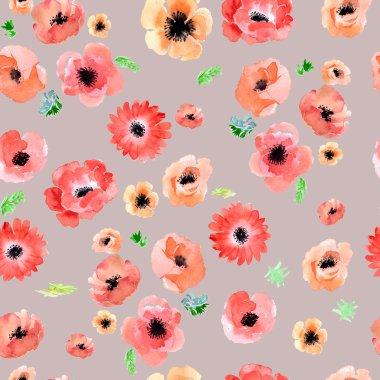 """Картина, постер, плакат, фотообои """"Акварель сад цветы анемоны"""", артикул 107888536"""