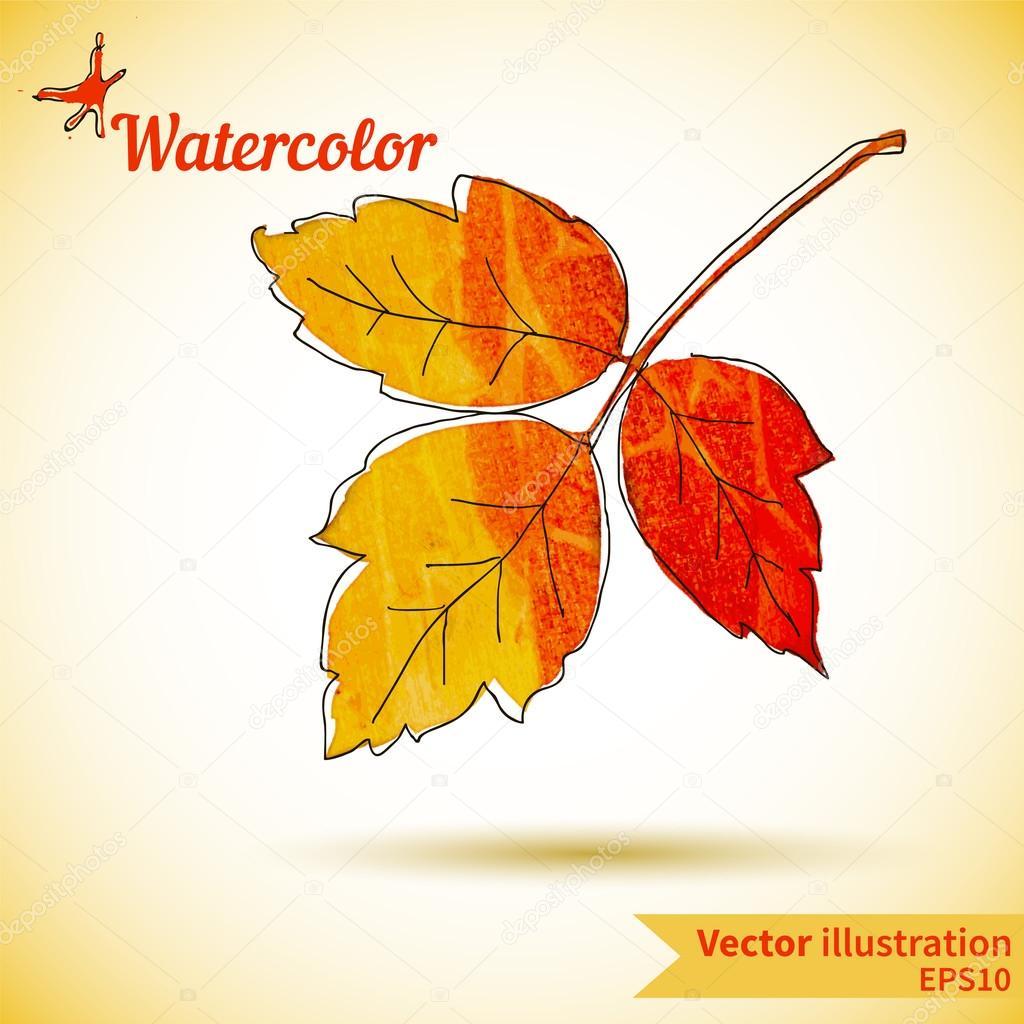 composición otoño con hojas amarillas y rojas — Vector de stock ...