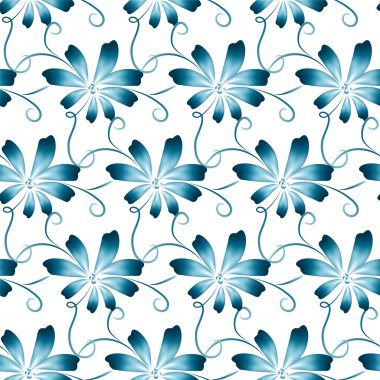 Pattern with blue folk art flowers