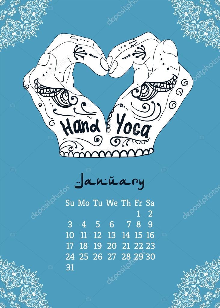 Calendar item with yoga mudra hands and drawing mehendi.