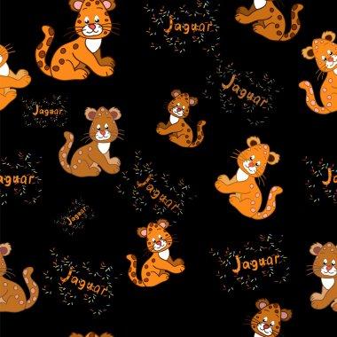 Pattern with jaguar cubs