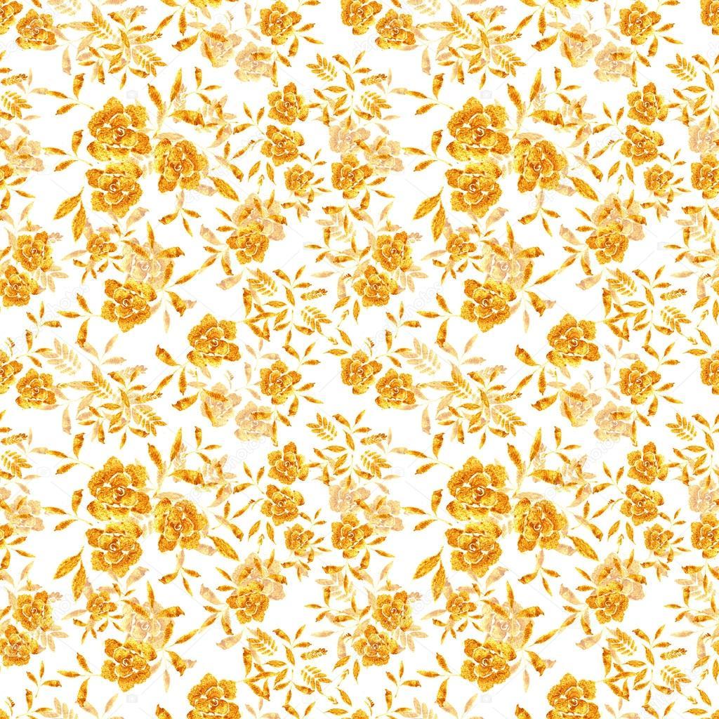Flores De Mão-extraídas De Rosa Douradas