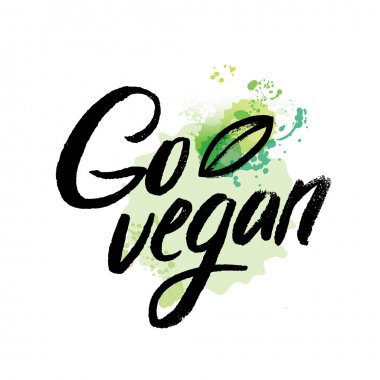 Words GO VEGAN in simple and cute frame with green branches and leaves. Vectorized watercolor drawing.