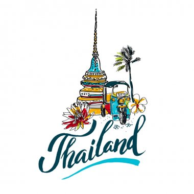 A vector illustration of Info graphic elements for traveling to Thailand,