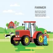 Zemědělská infographic koncept s farmář