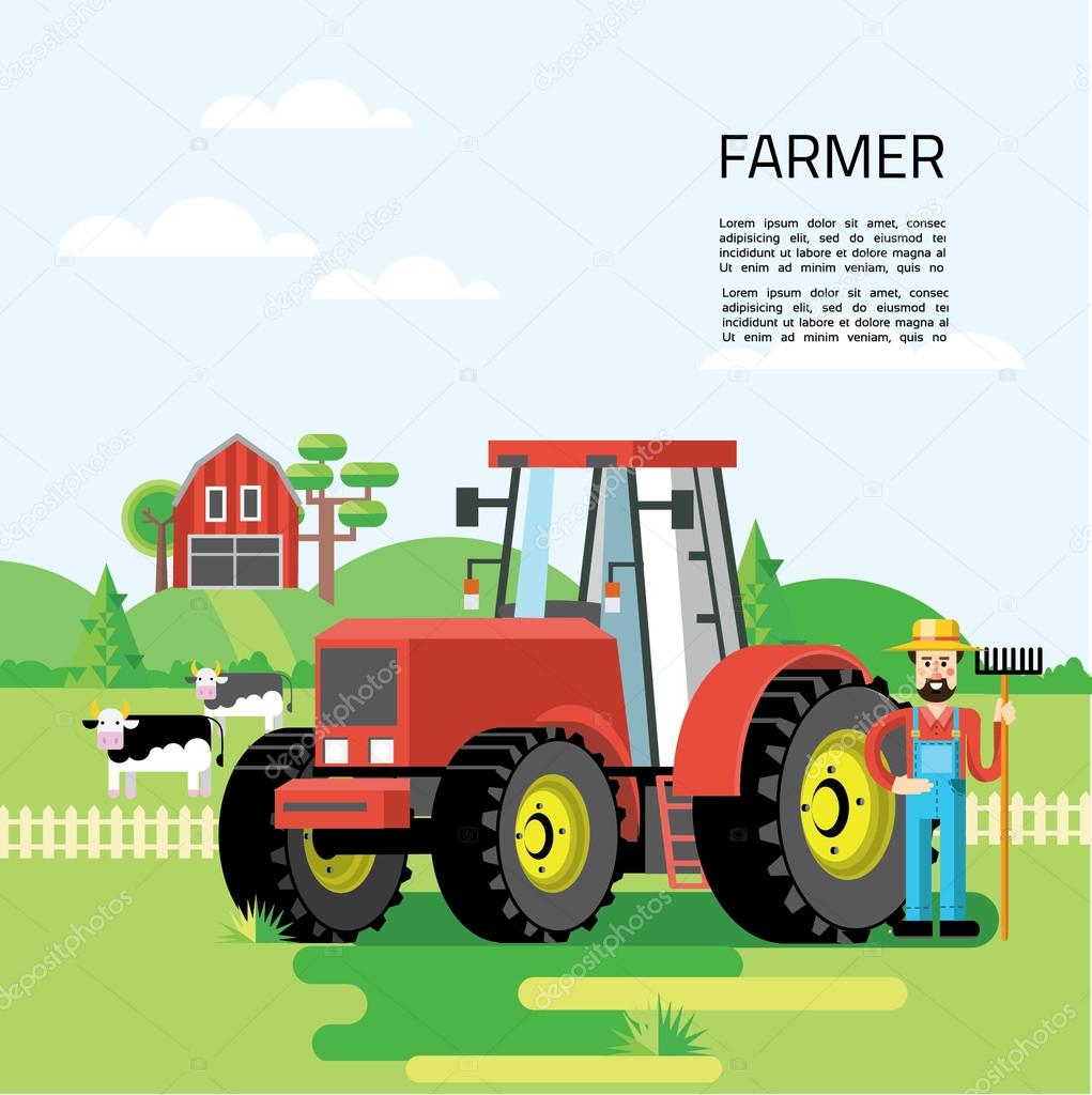 Farming infographic concept with farmer,