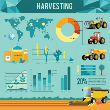 Vector set of agricultural vehicles and farm machines.