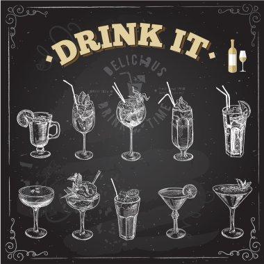Hand drawn sketch set of alcoholic cocktails. Vector illustration. Chalkboard background. stock vector