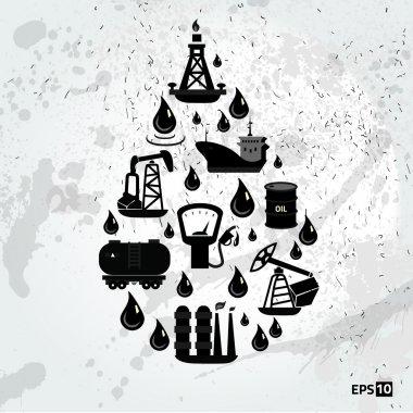 Set of gas fuel station car oil petrol auto service concept flat business icons set for infographics design web elements vector illustration