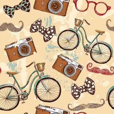 Seamless bicycles and vintage camera pattern