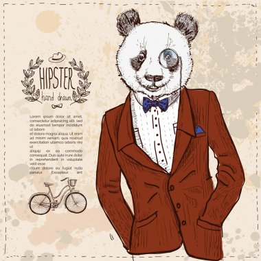 Hipster panda bear in suit