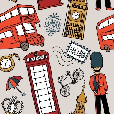 Doodle icon london seamless pattern