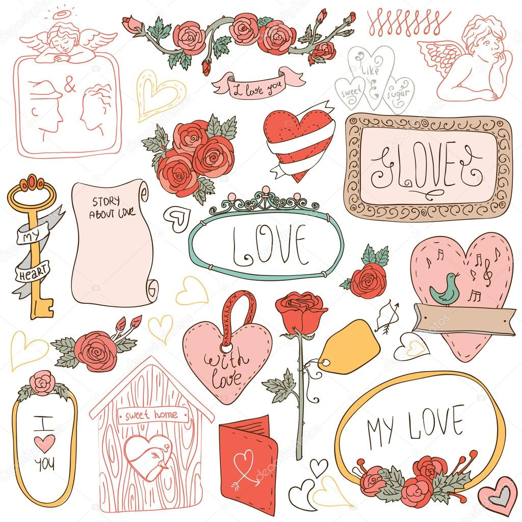 Vintage label set, Hand-drawn doodles and design elements, Ornate frames, banners and ribbons isolated in spring color. Romantic set of labels and ribbons stock vector