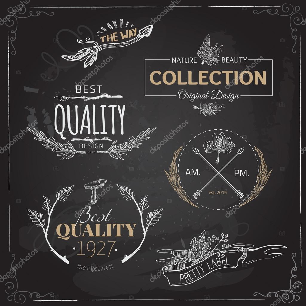Vintage Y Las Etiquetas Del Logotipo Granja Moderna