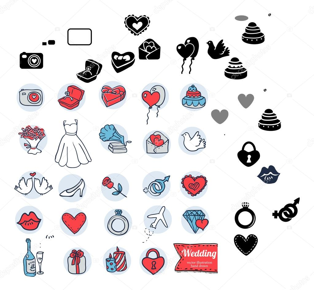 Doodle wedding icon set