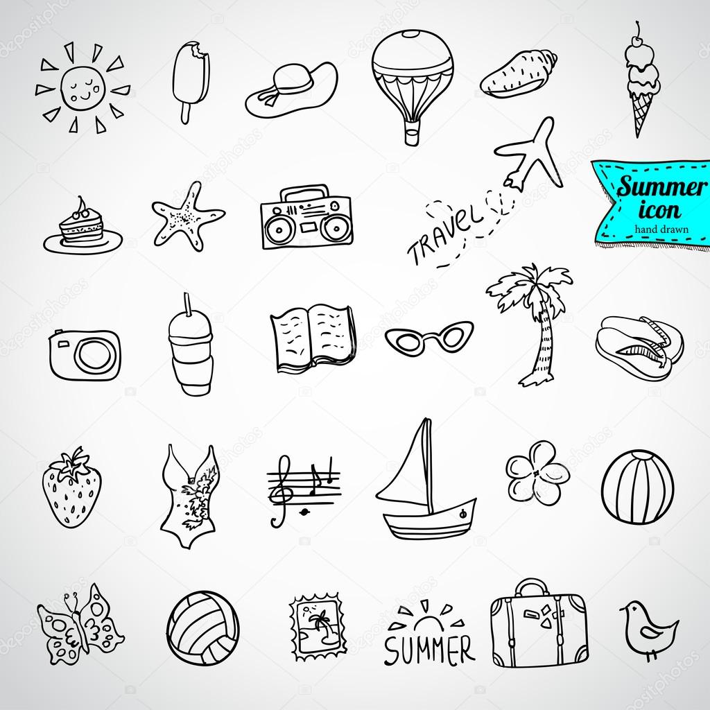Set of doodle summer icons — Stock Vector © iriskana #72349415