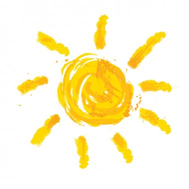 Watercolor sun, rays flat icon closeup silhouette