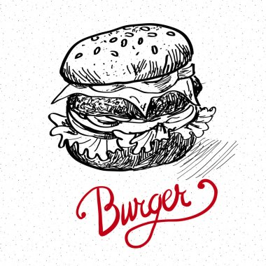 Delicious juicy burger. Sketch illustration
