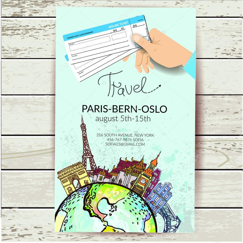 Airline ticket. Travel background.  All elements and textures are individual objects.