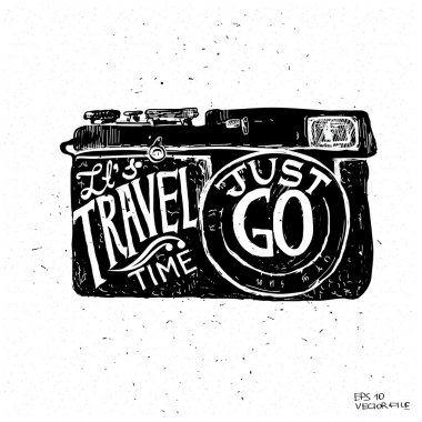 Travel photo background with retro camera and landmarks cards vector illustration