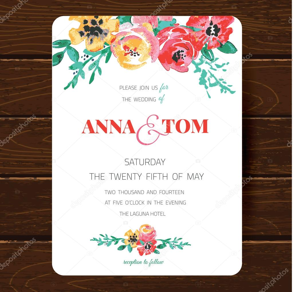 Wedding invitation card template.