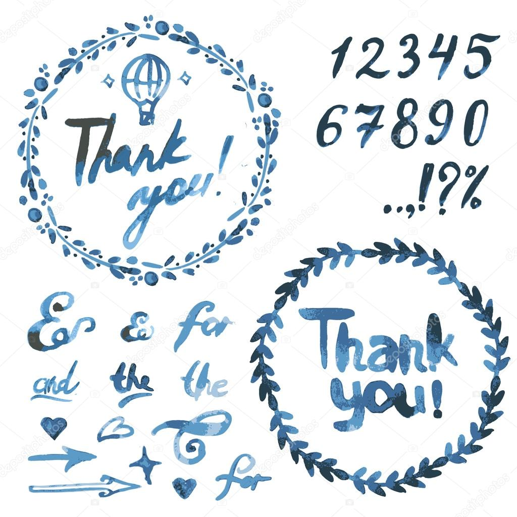 Text thank you on a blue watercolor spots.