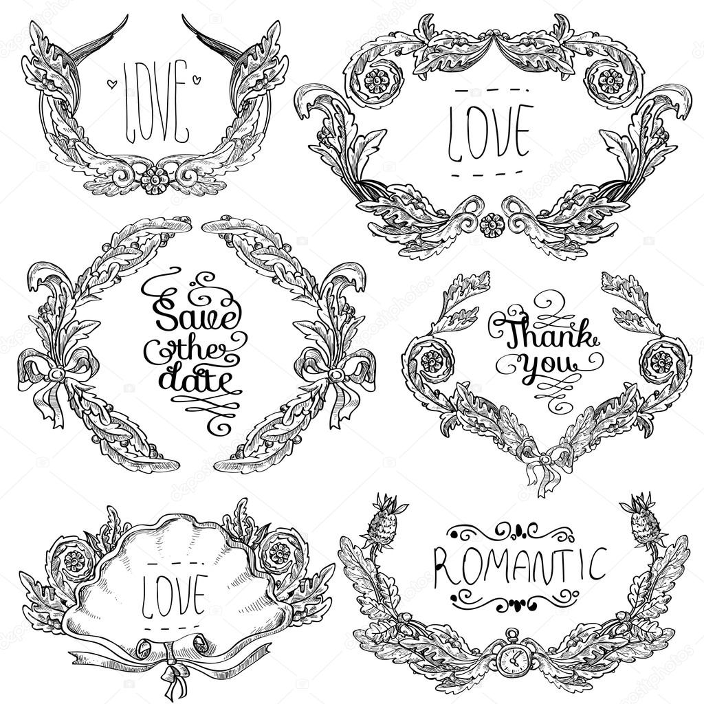 Vector set of   ornaments calligraphic design elements