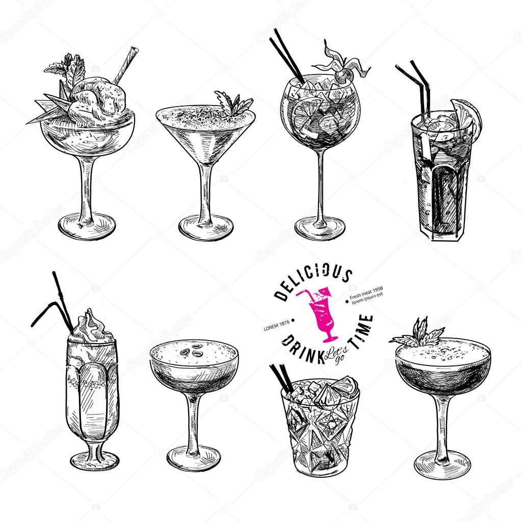 Hand drawn sketch set of alcoholic cocktails.