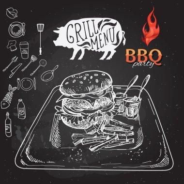 Delicious juicy burger. Sketch illustration