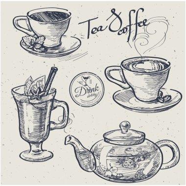 Cup of coffee, tea, mug, teapot. Hand drawn illustration