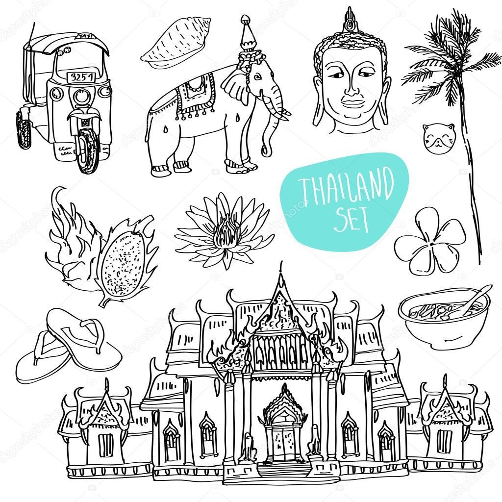 Illustration of vector set of Bangkok