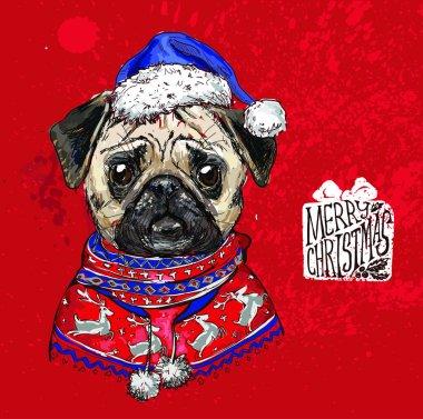 hand drawn vector of pug with christmas