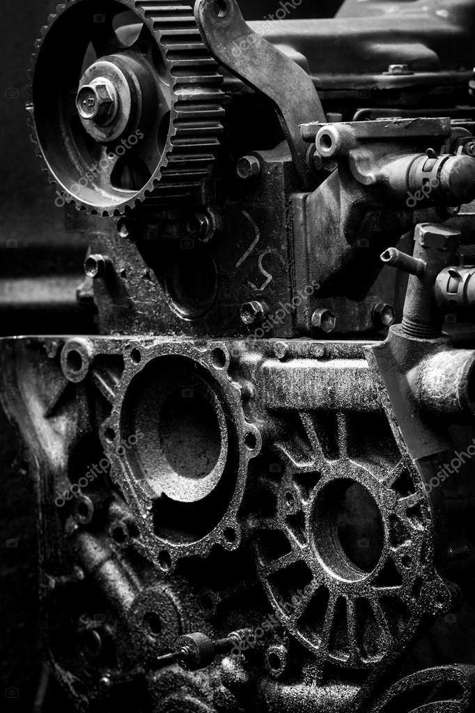 Old car engine, black and white photo — Stock Photo © amstockphoto ...