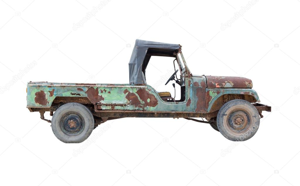 old pickup truck isolated on white background — Stock Photo ...