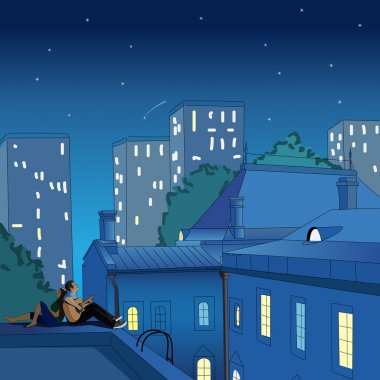 Couple sitting on the roof at night