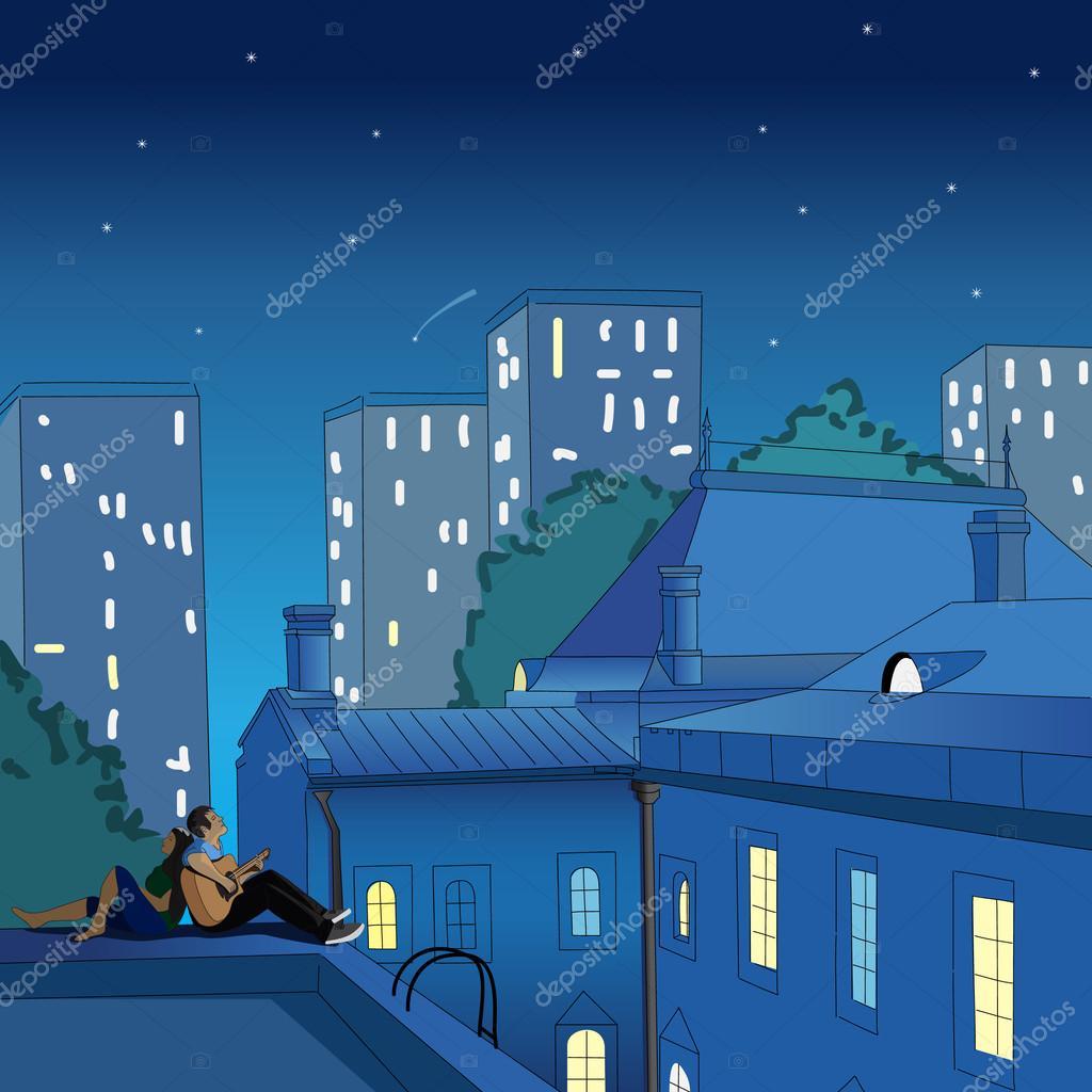 pareja sentada en el tejado de noche u archivo imgenes vectoriales