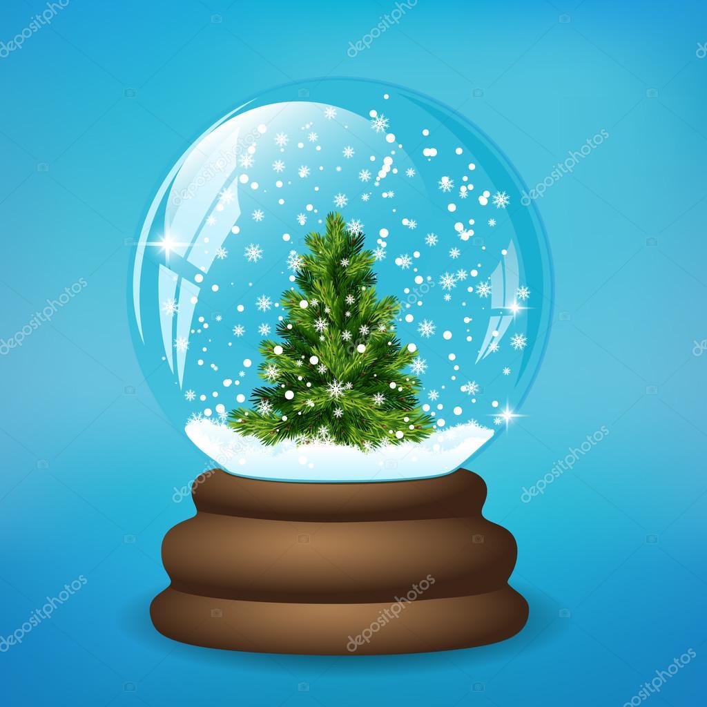 Weihnachten-Schneekugel mit Baum — Stockvektor © ayrenna #66043403