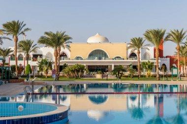 Hurghada, Egypt - October 2 2020: Swimming pool in Egyptian hotel SUNRISE Garden Palace Resort in Hurghada.