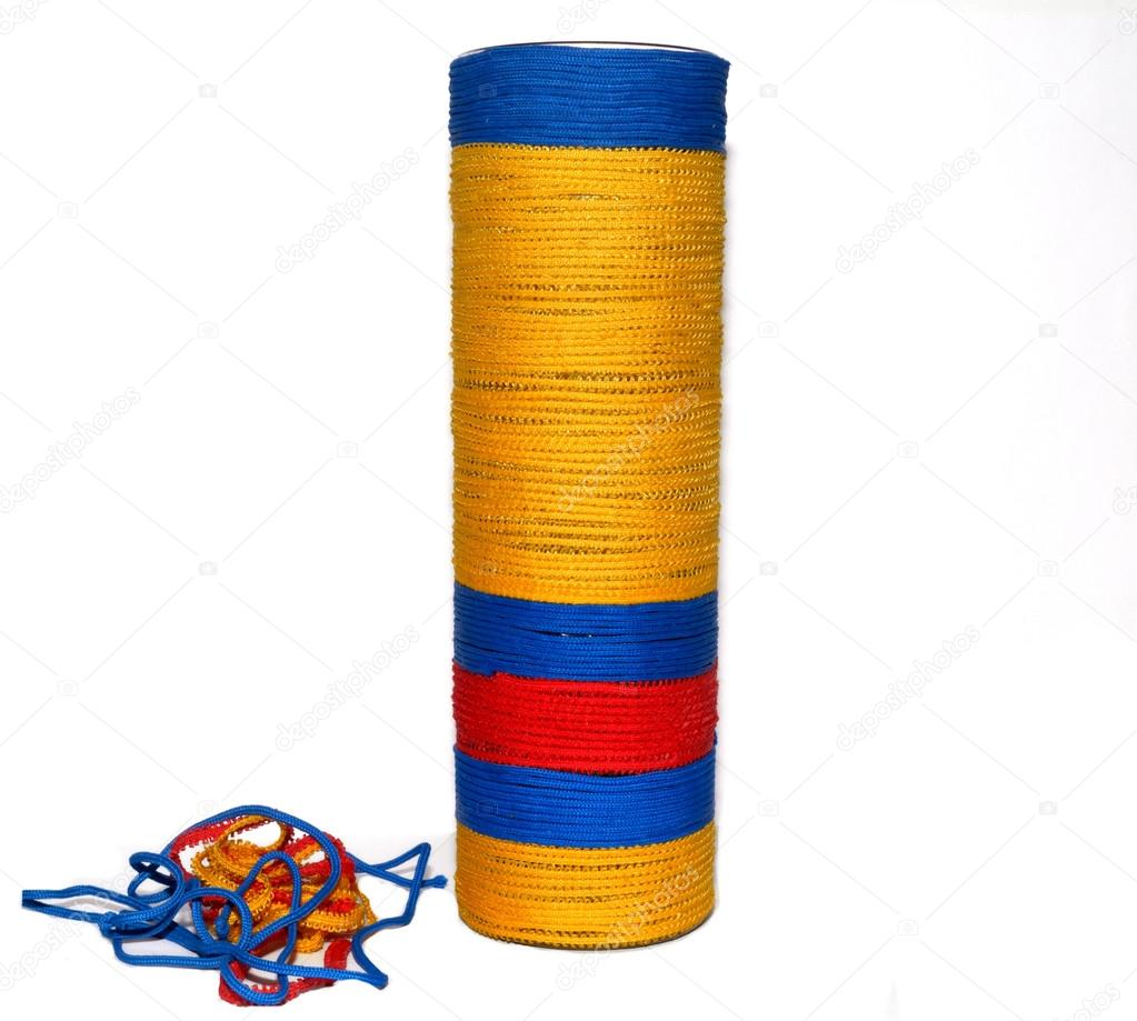 Decorative bottles wrapped colored tape — Stock Photo © avtor_hell