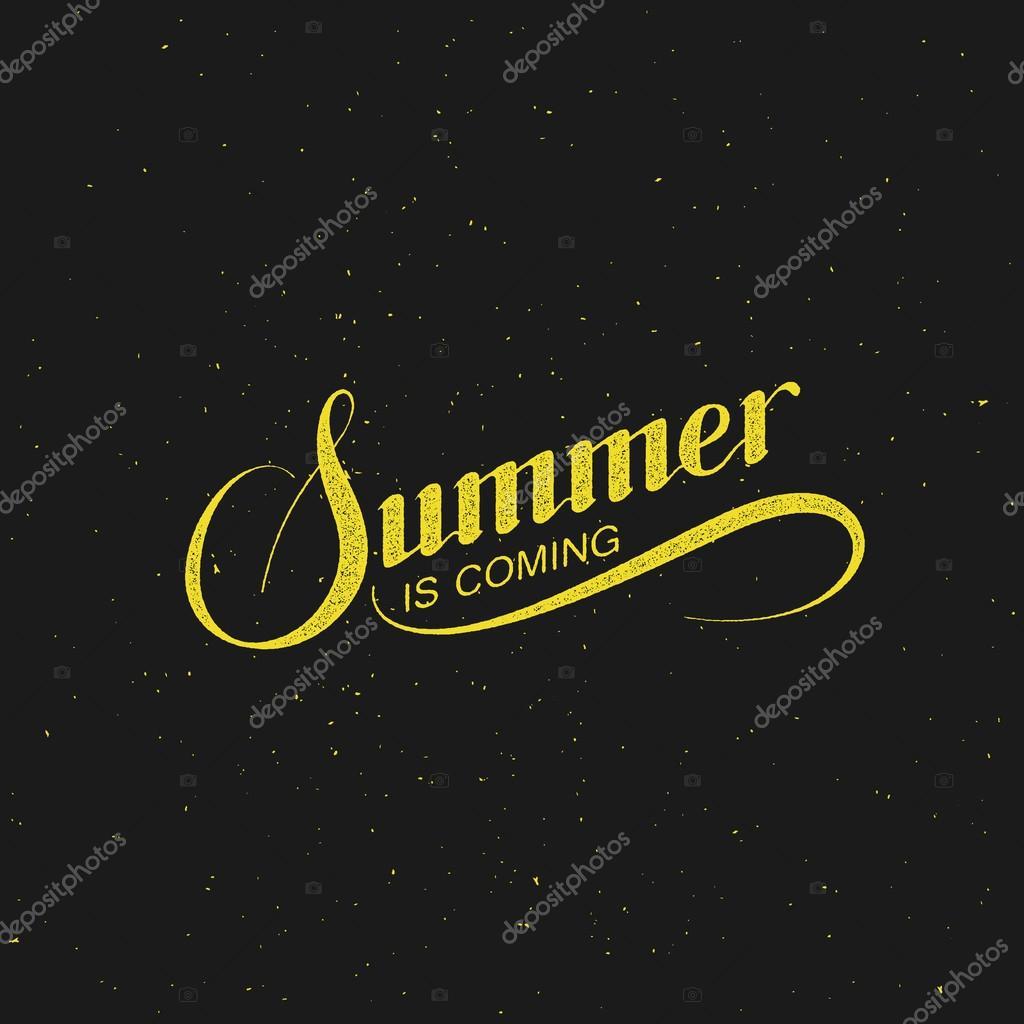 Handwritten Summer Is Coming Retro Label U2014 Vetores De Stock