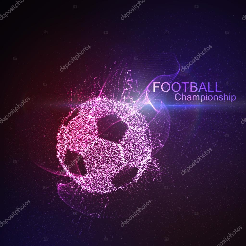 Football or Soccer abstract illuminated ball. Vector sport illustration of  flying abstract Soccer Ball made of glowing particles.