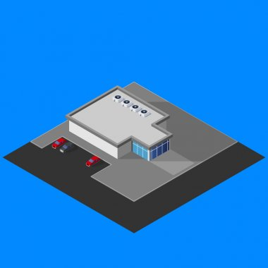 Isometric supermarket building