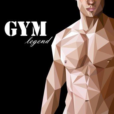 Caucasian or asian man muscle body