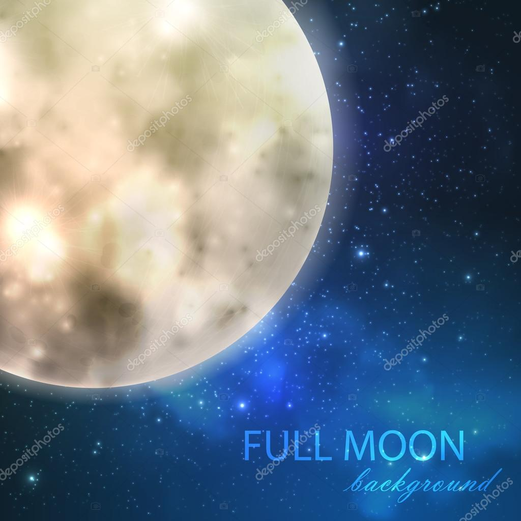 Full moon on the night starry sky