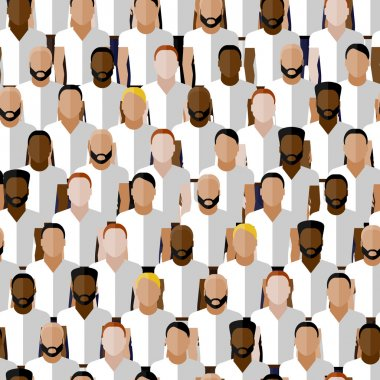 Vector seamless pattern with men group or community wearing sport uniform clip art vector