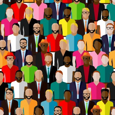 Large group of guys and men. flat  illustration of male community. stock vector