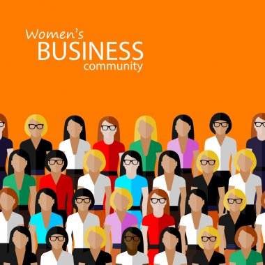 Vector flat  illustration of women business community. a large group of women (business women or politicians) stock vector
